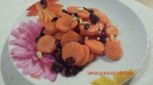 carote uvetta pinoli senza lattosio