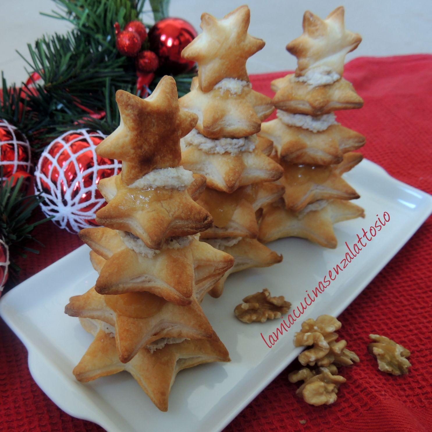 Antipasti Alberelli Di Natale.Alberelli Di Pasta Sfoglia Ricotta Noci E Pere Senza Lattosio La